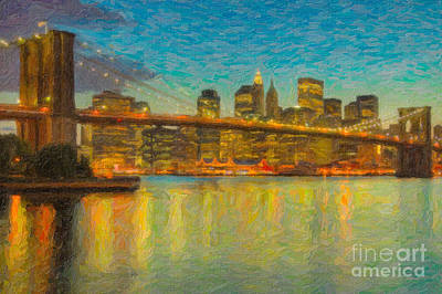 Photograph - Brooklyn Bridge Twilight Impasto by Clarence Holmes