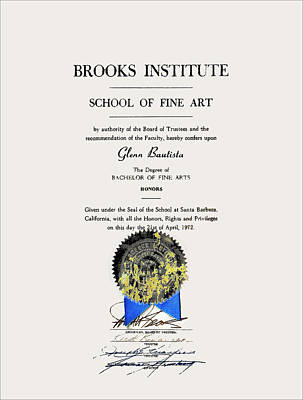 Photograph - Brooks Diploma - Glenn 1972 by Glenn Bautista
