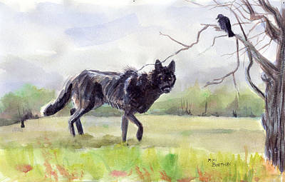 Brother Crow Announces The Arrival Of Brother Wolf Art Print by Mimi Boothby