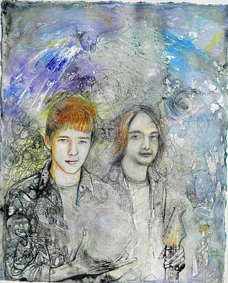 Painting - Brothers Commission Portrait by Anne-D Mejaki - Art About You productions