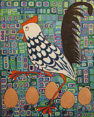 Art Print featuring the painting Brown Eggs Are Local Eggs And Local Eggs Have Wheels by Donna Howard