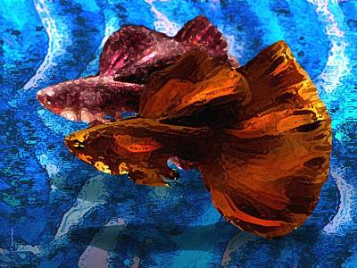 Textured Photograph - Brown Fish In Abstract Art by Mario Perez