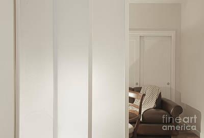 Brown Leather Sofa Seen Through Open Door Art Print by Andersen Ross