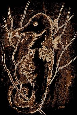 Digital Art - Brown Seahorse by Susan Kubes