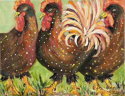 Brown Spotted Chickens Art Print