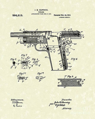 Antique Drawing Drawing - Browning Handgun 1911 Patent Art by Prior Art Design