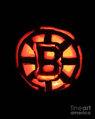 Bruins Carved Pumpkin Art Print