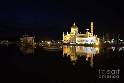 Art Print featuring the pyrography Brunei Refections.  by Gary Bridger