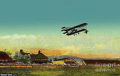 Painting - Brunot's Island Racetrack And Glen Curtiss Aeroplane In Pittsburgh Pa In 1910 by Dwight Goss