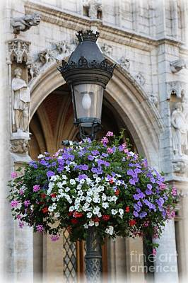Hanging Baskets Photograph - Brussels Lamp Post by Carol Groenen