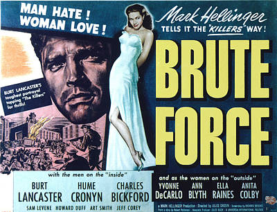 Brute Force, Burt Lancaster, Yvonne De Art Print by Everett