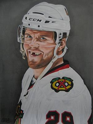 Eye Patch Drawing - Bryan Bickell by Brian Schuster
