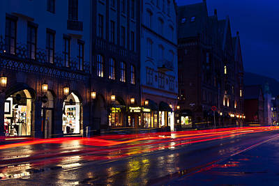 Photograph - Bryggen Lights by A A