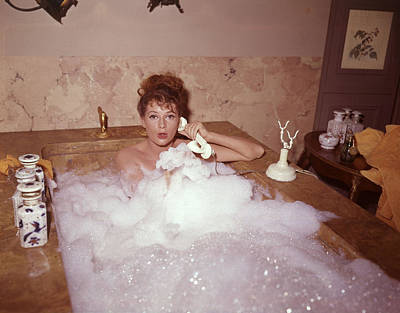Domestic Bathroom Photograph - Bubble Bath by Fox Photos