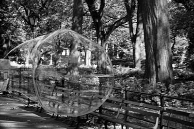 Bubble In Central Park In Black And White Art Print