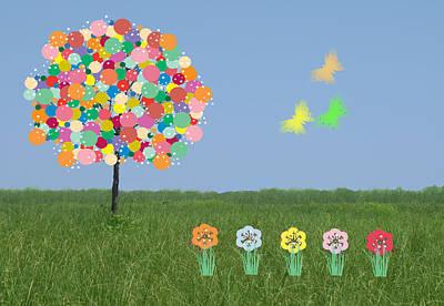 Bubblegum Tree Art Print by Rosalie Scanlon