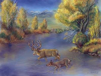 Painting - Buck And Doe Crossing River by Dawn Senior-Trask