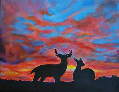 Painting - Buck And Doe by Leslie Allen