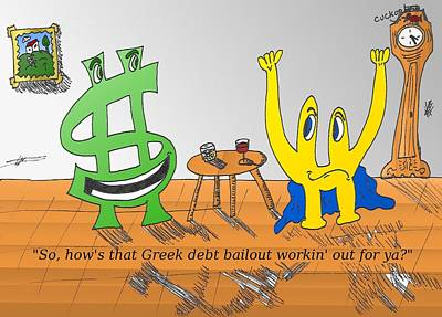 Financial Mixed Media - Buck And Euroman On The Greek Bailout by OptionsClick BlogArt