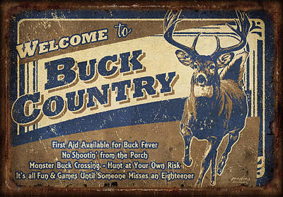 Whitetail Deer Wall Art - Painting - Buck Country Sign by JQ Licensing