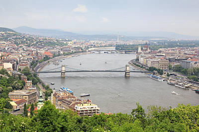 Budapest With Chain Bridge Art Print by Romeo Reidl