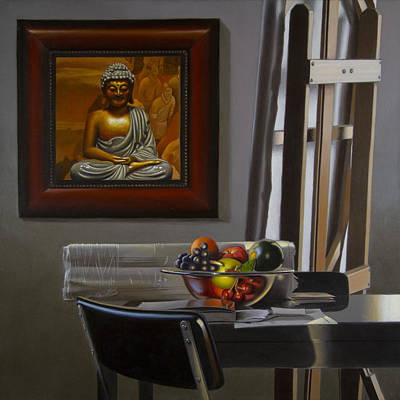 Interior Still Life Painting - Buddha And Fruit With  Easel by Tony Chimento