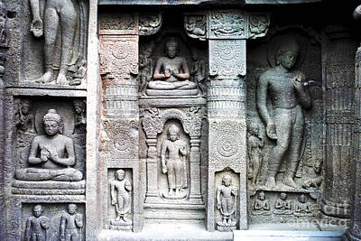 Buddha Carvings At Ajanta Caves Art Print