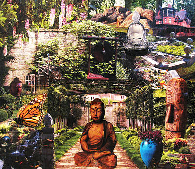 Butterfly Koi Mixed Media - 'buddha Garden' Collage by Casey Roche