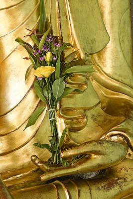 Buddha Image Photograph - Buddha Hand Holding Flower by Michele Burgess