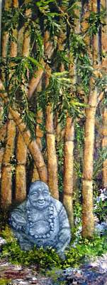Buddha In The Bamboo Garden Art Print by Annie St Martin