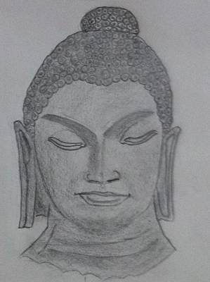 Buddha Sketch Drawing - Buddha by Monika