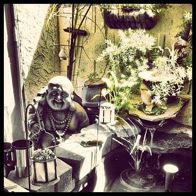 Patio Photograph - #buddha #patio #iphone  #judygreen by Judy Green