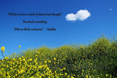 Photograph - Buddha Quote On Blue Sky With Puffy White Cloud by Sarah Broadmeadow-Thomas