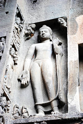 Indian Cultural Painting - Buddha Statue At Ajanta Caves India by Sumit Mehndiratta