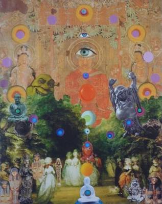Mixed Media - Buddha's Garden Party by Douglas Fromm