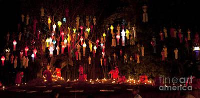 Buddhist Monk Fire Candles To The Buddha Original by Anek Suwannaphoom