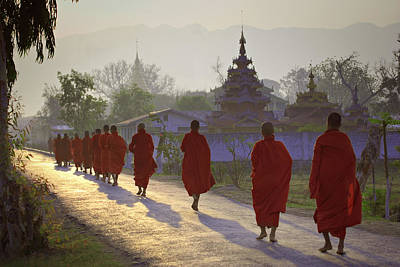Buddhist Monks Walking Down Road, Rear View Print by Daryl Benson