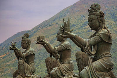 Buddhistic Statues Art Print by Karen Walzer