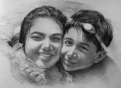 Swimmer Drawing - Buddies by Arti Chauhan