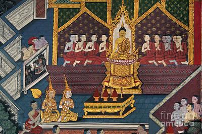 Photograph - Buddist Mural - Wat Po Bangkok by Craig Lovell