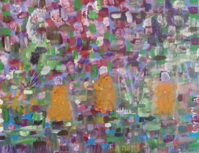 Budhist Monks Meditation Walk  Art Print by Antonio Raul