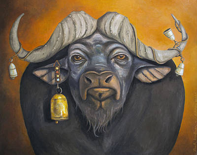 Steer Painting - Buffalo Bells by Leah Saulnier The Painting Maniac