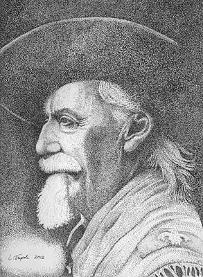 Drawing - Buffalo Bill Cody by Lawrence Tripoli