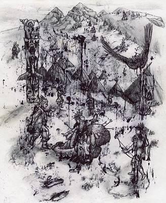 Pee Drawing - Buffalo Flight by Bobby Fontaine