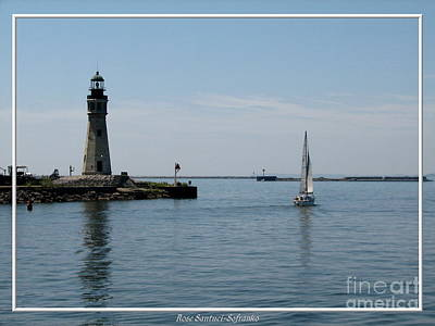 Photograph - Buffalo Harbor Main Lighthouse And Sailboat by Rose Santuci-Sofranko