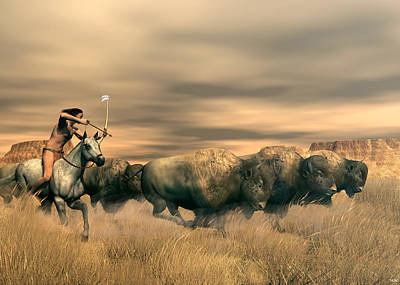 Digital Art - Buffalo Hunter by Walter Colvin
