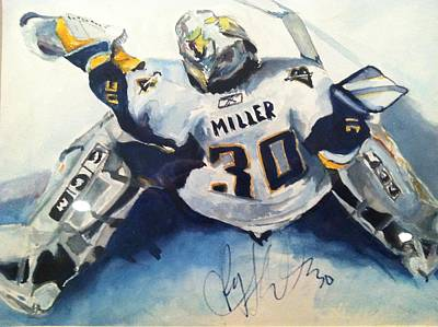 Buffalo Sabres Signed Ryan Miller Original Painting Original by Stacey Ross