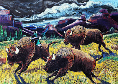 Buffaloes Race The Storm Art Print by Harriet Peck Taylor