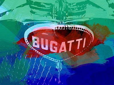 Racing Car Digital Art - Bugatti Badge by Naxart Studio