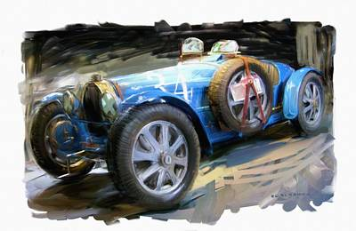 Digital Art - Bugatti Roadster by RG McMahon